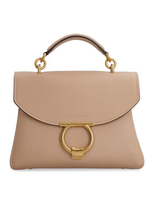 Salvatore Ferragamo Gancini Pebbled Leather Handbag