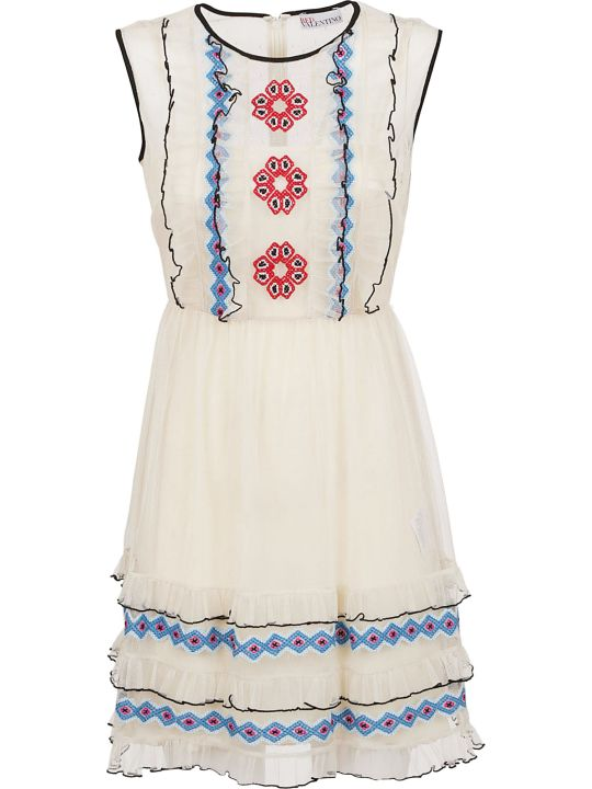 RED Valentino Pattern Embroidered Ruffle Dress