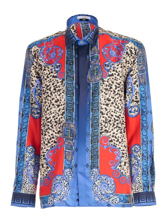 Versace Collection Shirt L/s Silk Western Printing Animalier