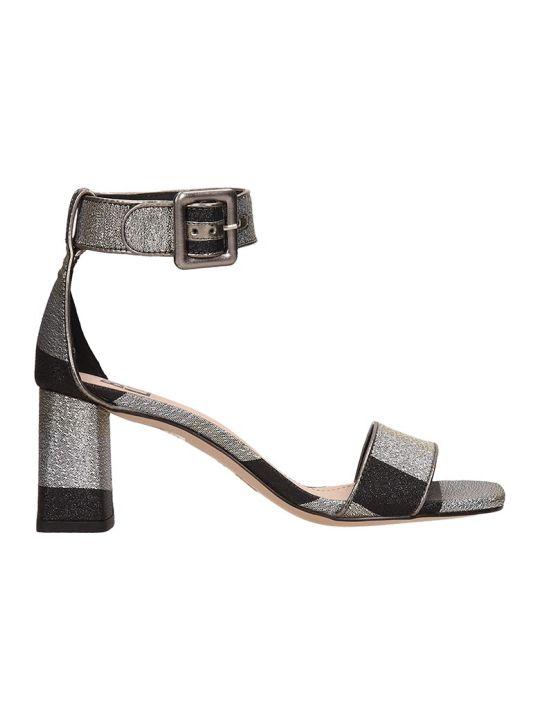 Bibi Lou Silver-black Canvas Sandals