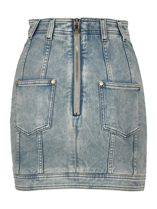Balmain Buttoned Denim Mini Skirt