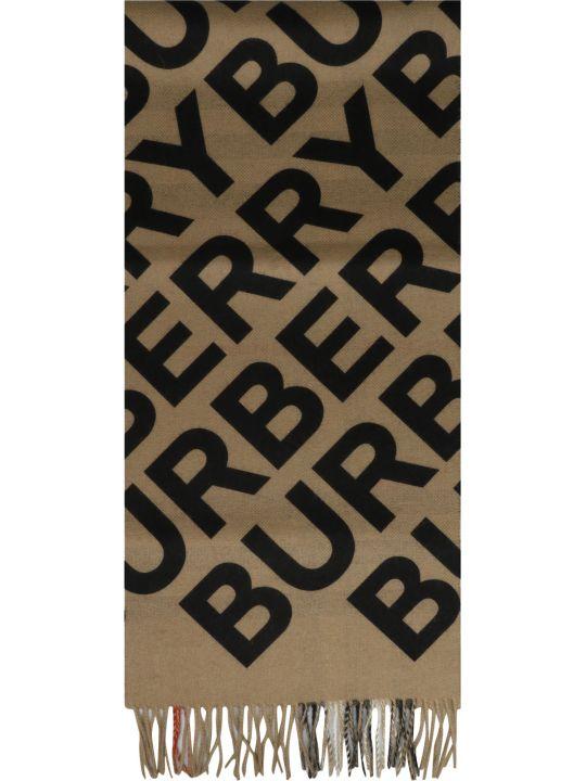 Burberry Logo Print Check Scarf