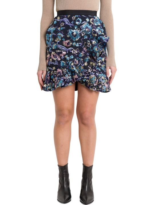 self-portrait Sequins Embroidered Skirt With Rouches