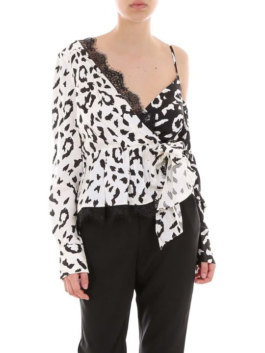 self-portrait Leopard Printed Wrap Top