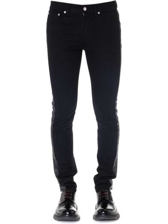 Alexander McQueen Black Cotton Jeans With Lambskin Bands