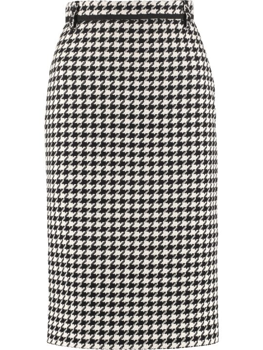 MSGM Houndstooth Check Pencil Skirt