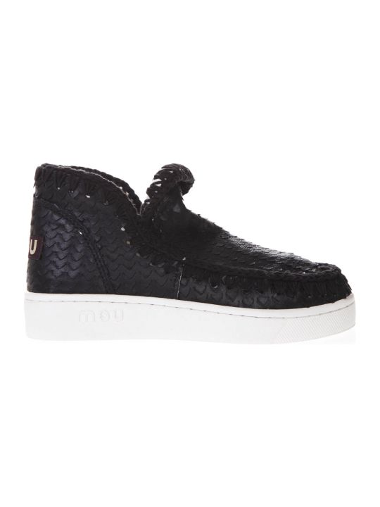 Mou Summer Eskimo All Sequins  Black Canvas Shoes