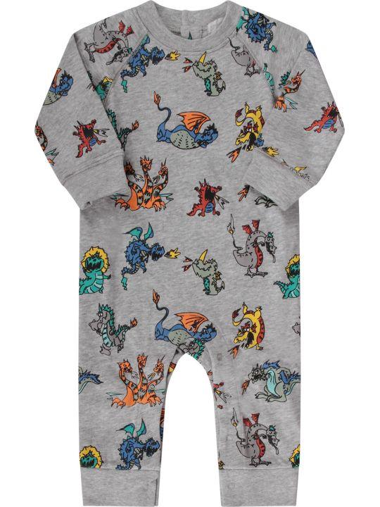 Stella McCartney Kids Grey Babyboy Babygrow With Colorful Dragons