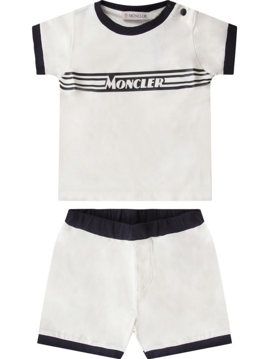 Moncler White And Blue Babyboy Suit With Black Logo