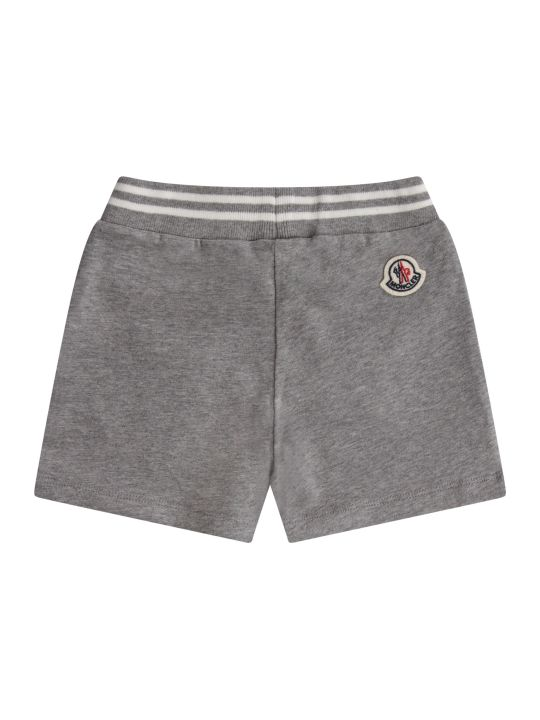 Moncler Grey Babykids Short With Iocnic Patch