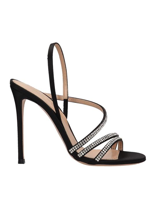 Lerre Black Satin Sandals
