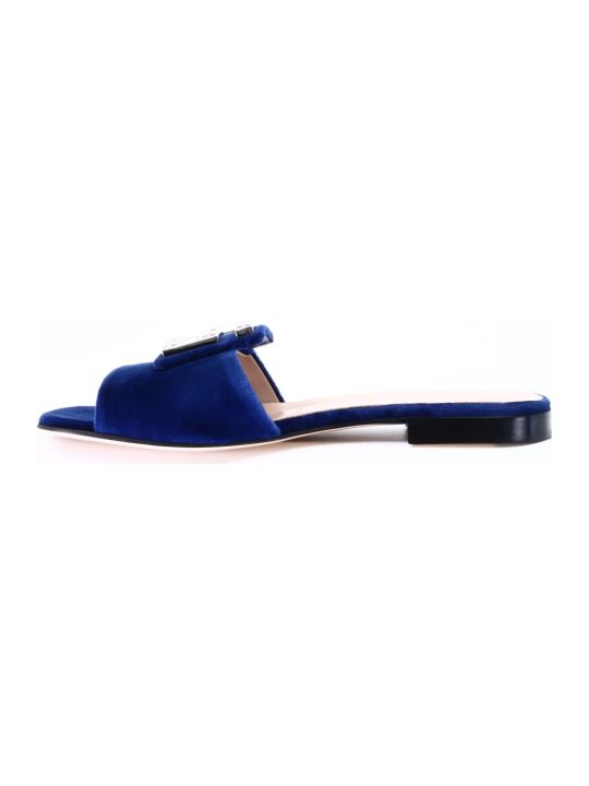 Gucci Slider Velvet Blue Crystals G