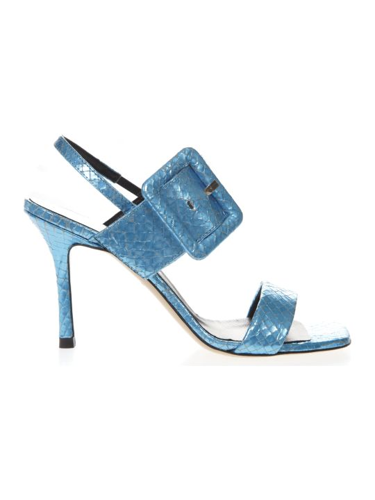 Marc Ellis Light Blue Leather Sandals Snake Effect