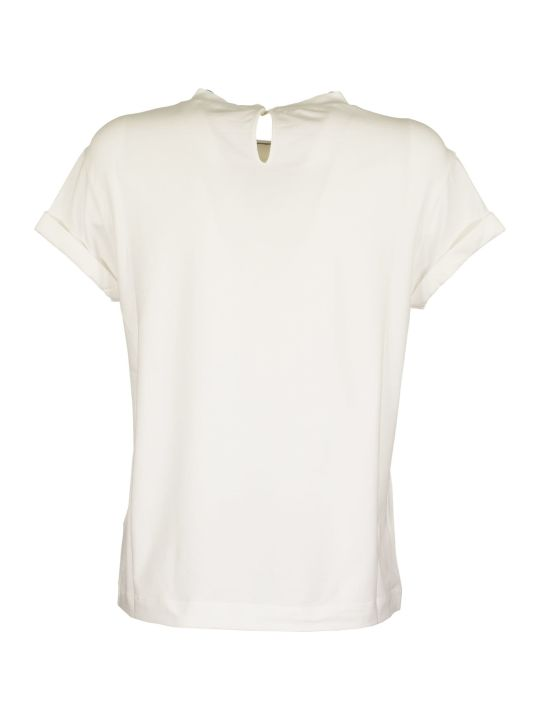 Brunello Cucinelli Short Sleeve T-shirt Stretch Cotton Jersey T-shirt With Precious Faux Layering