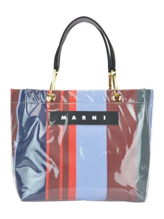 Marni Logo Striped Shopping Bag
