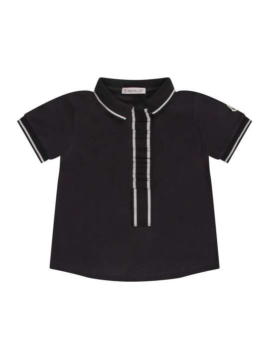 Moncler Blue Girl Polo Shirt With Iconic Logo