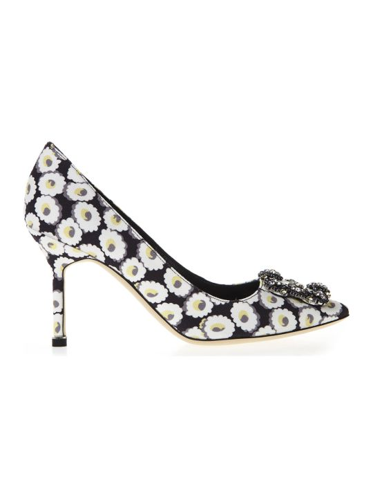 Manolo Blahnik Black Pumps With Floral Print