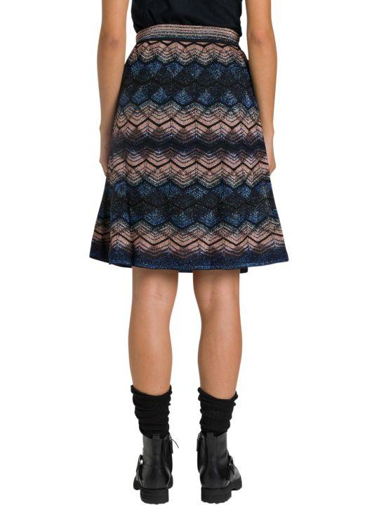 M Missoni Midi Skirt In Lurex Knit With Wave Motif