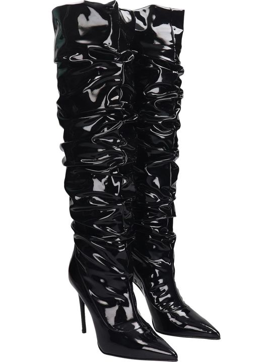 Le Silla High Heels Boots In Black Leather