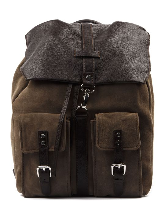 Eleventy Taupe Calf Leather Backpack