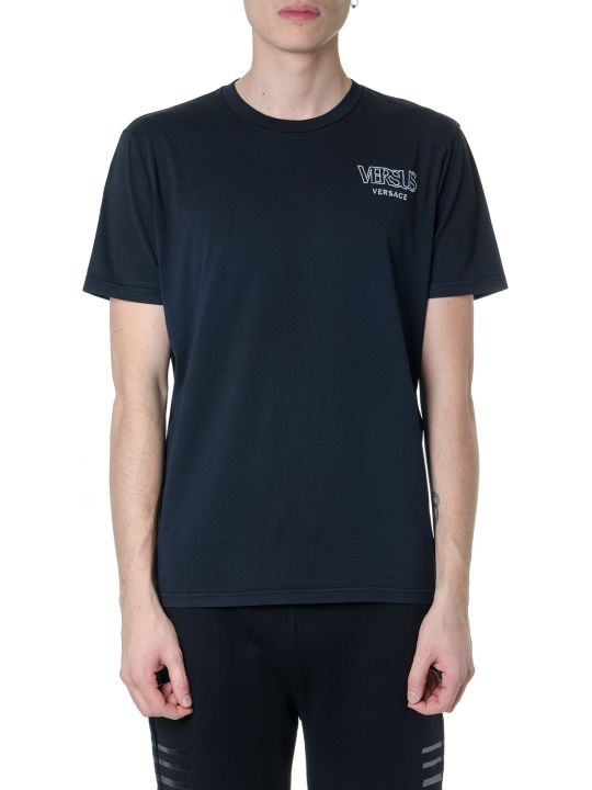 Versus Versace Black Cotton T-shirt With Versus Logo