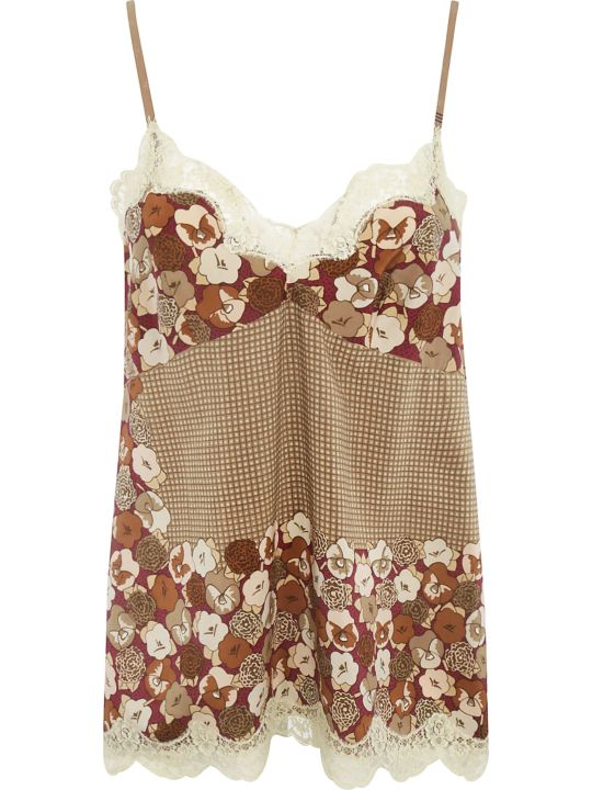 Ibrigu Floral Print Laced Detail Top