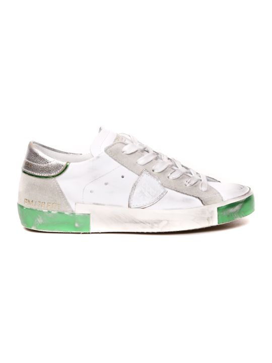 Philippe Model White Vintage Leather & Suede Sneaker