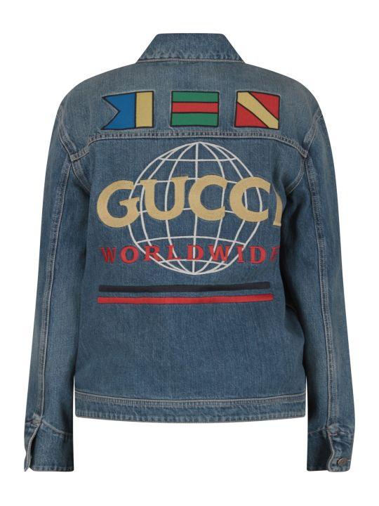 Gucci Denim Kids Jacket With Beige Logo