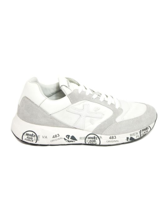 Premiata Zaczac White Nylon And Leather Sneakers