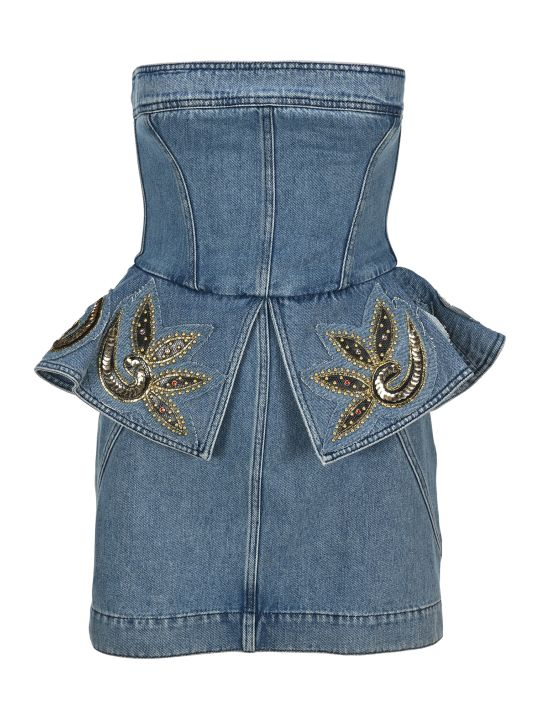 Philosophy di Lorenzo Serafini Philosophy Embellished Bustier Denim Mini Dress