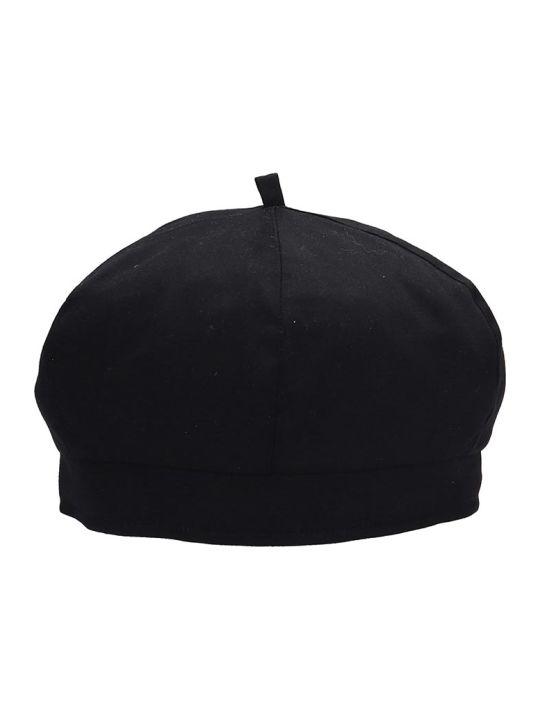 Our Legacy Black Cotton Beret Hat