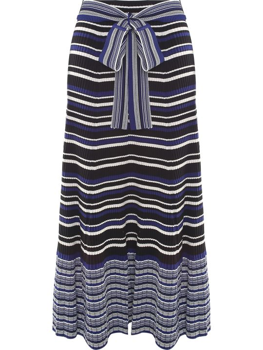 3.1 Phillip Lim Striped Rib-knit Belted Maxi Skirt