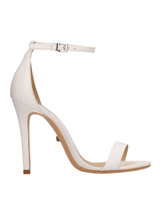 Schutz White Calf Leather Sandals