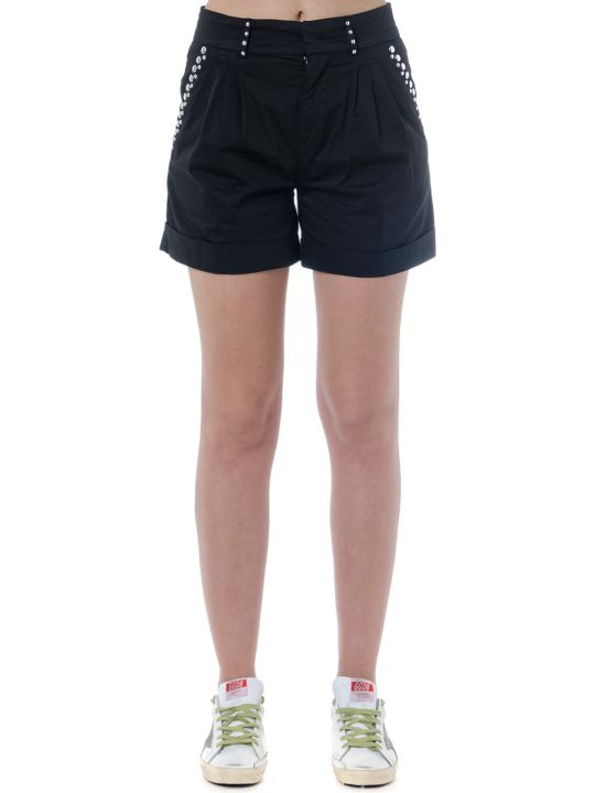 Dondup Black Cotton Studs Shorts