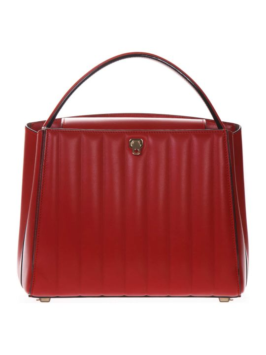 Valextra Brera Top Handle Medium Bag In Red Leather