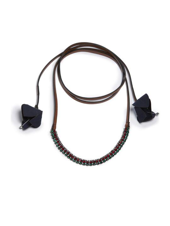 Marni Floral Appliquéd Wrap Necklace