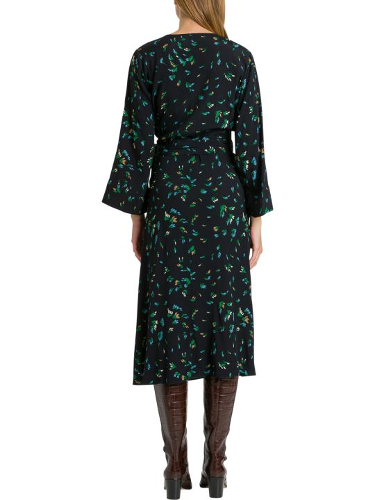 Ganni Wrap Dres With Floral Motif
