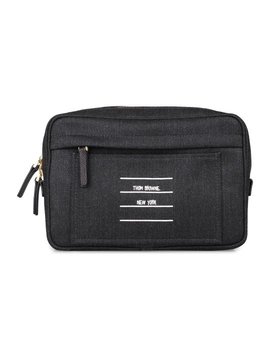 Thom Browne Logo Print Wool Belt Bag