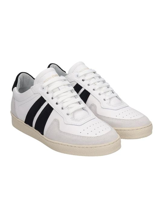National Standard Sneakers In White Suede And Leather