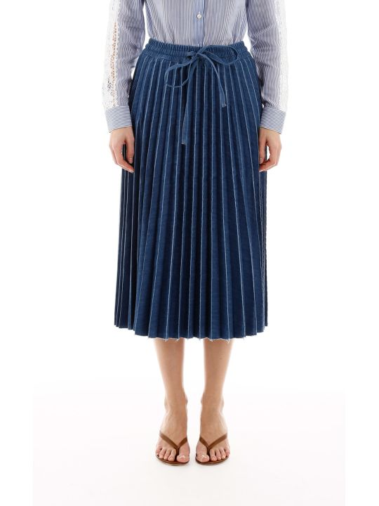 RED Valentino Pleated Denim Skirt
