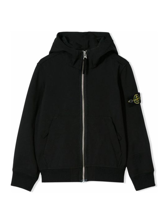 Stone Island Black Logo Hooded Jacket