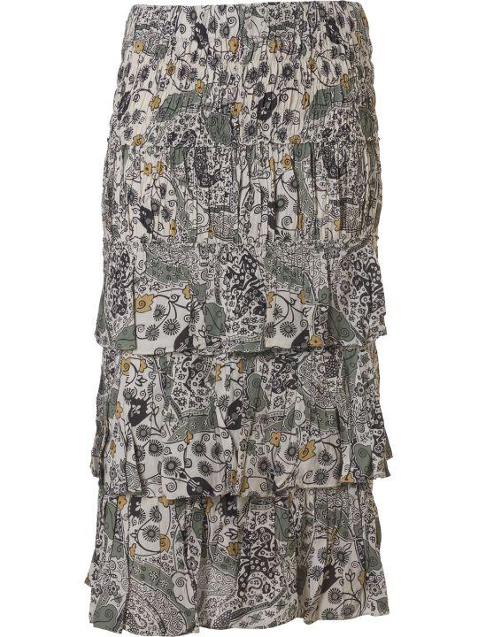 Isabel Marant Three Ruffle Detail Mid-length Printed Skirt