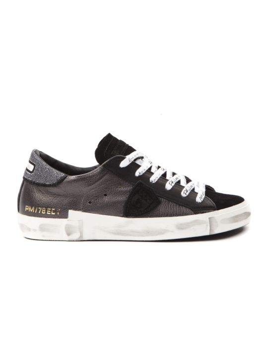 Philippe Model Prsx Black Leather & Suede Sneakers