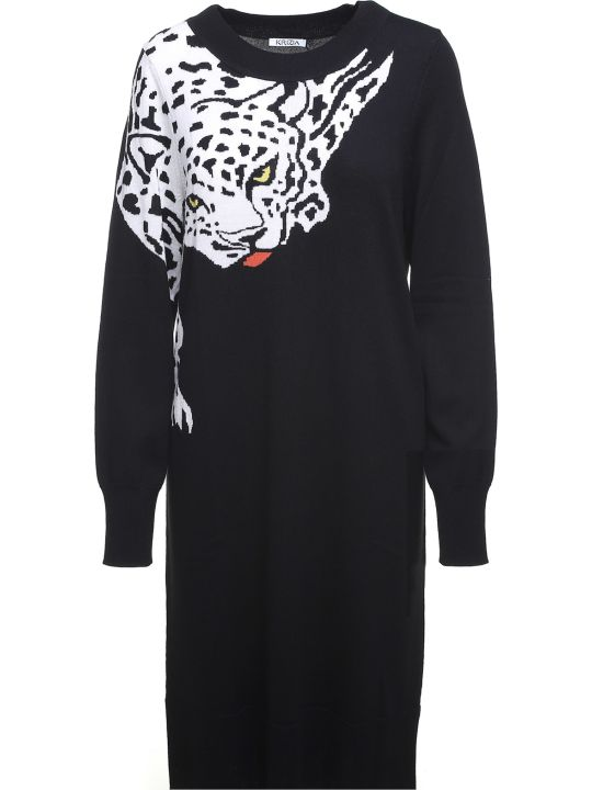 Krizia Leopard-intarsia Wool-knit Dress