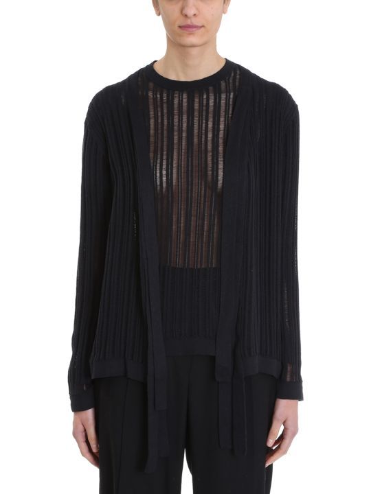 Maison Flaneur Knit Black Cotton Cardigan