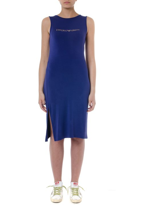 Emporio Armani Indigo Viscose Dress With Logo