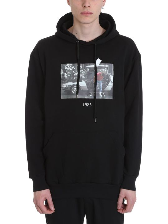 Throw Back Marty Black Cotton Hoodie