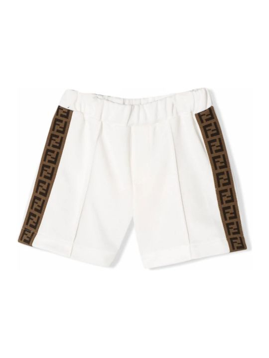 Fendi White Cotton Blend Shorts