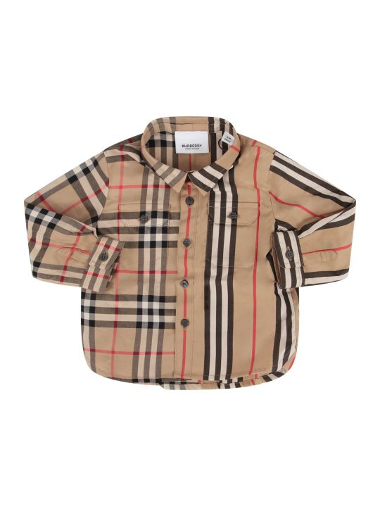 Burberry Biege Babyboy Shirt With Iconic Check And Stripe