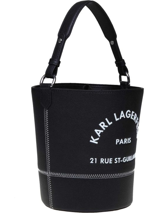 Karl Lagerfeld Bucket Bag Rue St Guillaume In Black Leather